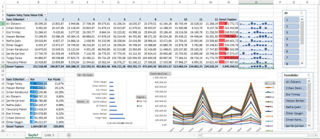 Excel Türkçe Dashboard Raporlama