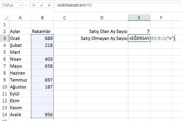 Excel Eğersay İşlevi-vidoport.com