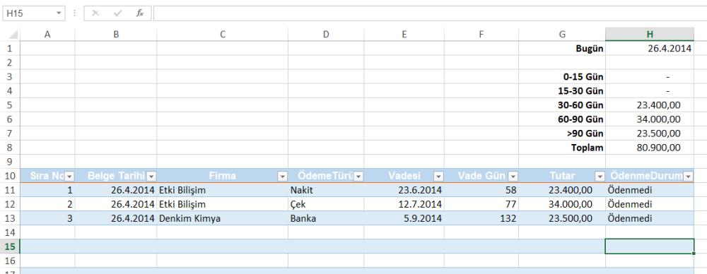 Excel Finans- Ödeme Takip Tablosu Oluşturmak