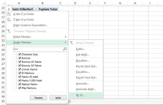 Excel Özet Tablo - Ömer BAĞCI