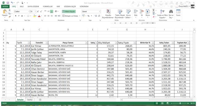 Excel'de ÇOKETOPLA İşlevinin Kullanımı