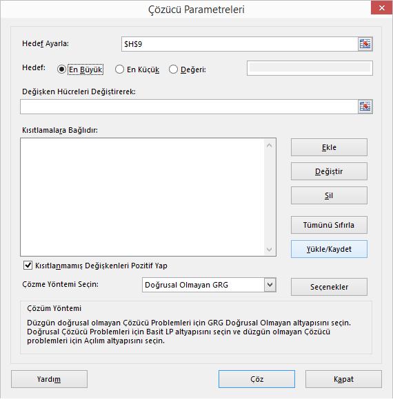 Excel'de Çözücüyü Kullanmak