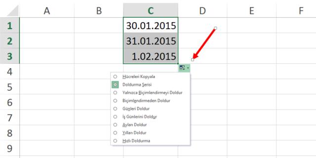 Excel'de Ayları, İş Günlerini, Yılları Doldurmak