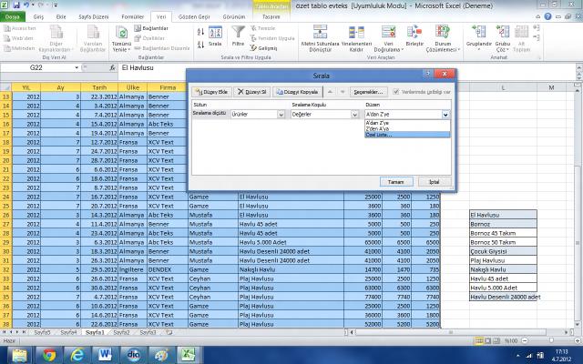 Excel'de Özel Sıralama Yapmak