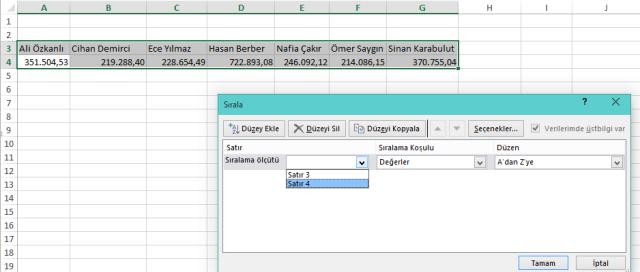 İleri Düzey Excel Eğitimleri-Ömer BAĞCI-Yatay Sıralama