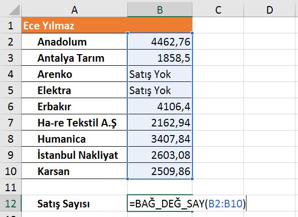 Excel İşlevleri - Ömer BAĞCI ile Excel