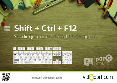 Excel de yazdırmanın kısayolu