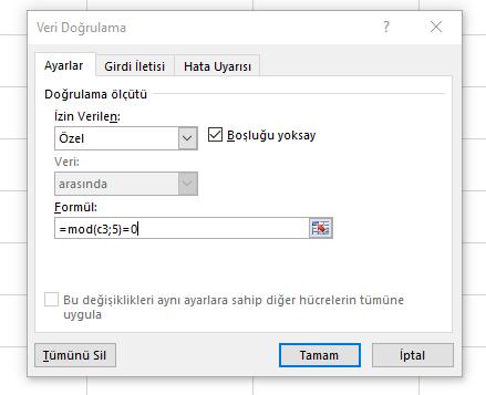 Excel Veri doğrulama-vidoport.comm