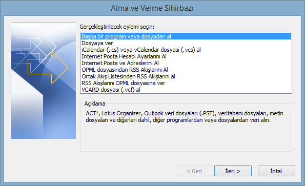 outlook kişi alma vidoport