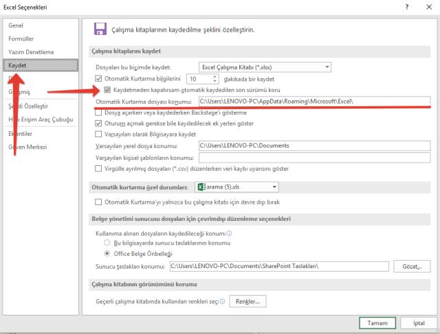 Excel'de kaydetmediğiniz dosyaları kurtarmak.png