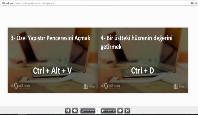 Excel de kullanılan kısayollar vidoport.png