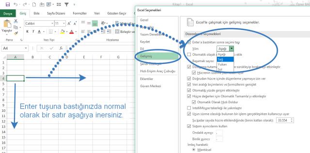 Excel'de Enter tuşunun yönünü değiştirmek vidoport