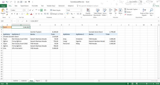 Excel de kasa tutma ömer bağcı vidoport