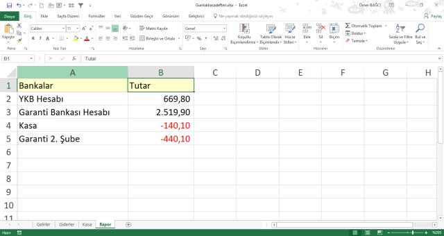 Excel'de kasa tutma vidoport.com Ömer BAĞCI