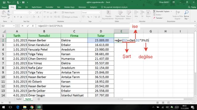 Excel'de Eğer işlevi kullanımı