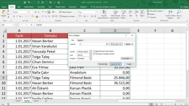 Excel'de sıfır içeren satırları silmek vidoport.com