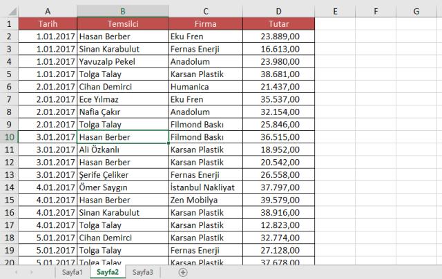Excel'de Listeleri ve kullanımları