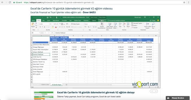 Excel'de Ödeme takibi yapmak- vidoport