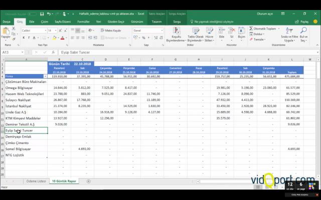 Excel'de ödeme ekranları oluşturmak-vidoport.com