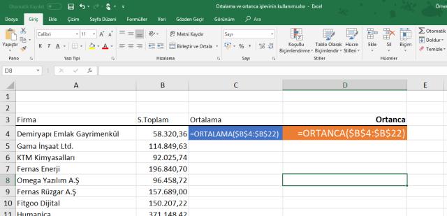 Excel Ortanca işlevinin kullanımı