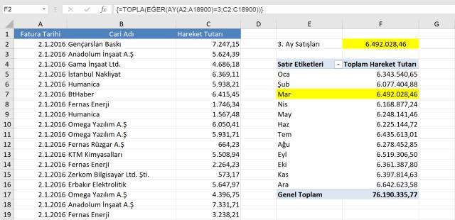 Excel Dizi formülü kullanımları