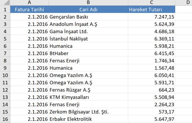 Excel Eğitimleri, Excel dizi formülleri kullanımı, Excel de hesaplama yapmak, vidoport