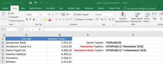 Excel'de Etopla işlevi kullanımı