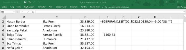 Excel'de en yüksek satışlara prim vermek