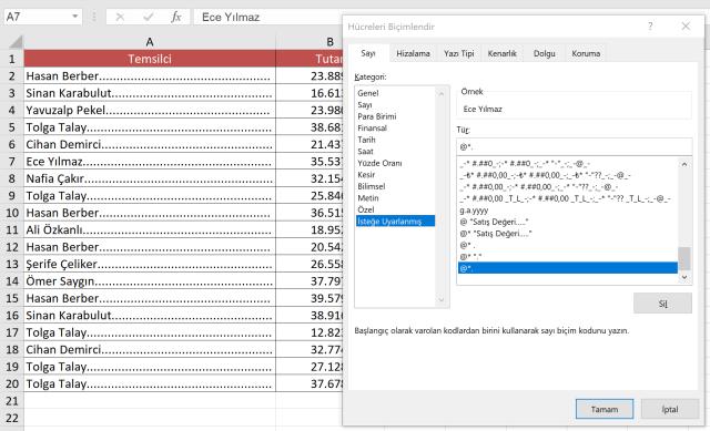 Excel'in bilinmeyenleri, Excel'de @ işareti kullanımı