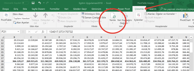 Excel Özet Tabloları Güncellenme yapmak