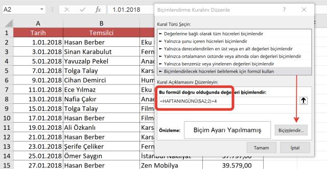 Excel Koşullu Biçimlendirme kullanımları-vidoport-Ömer BAĞCI