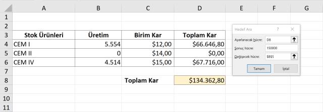 Excel Hedef Ara kullanımı- vidoport