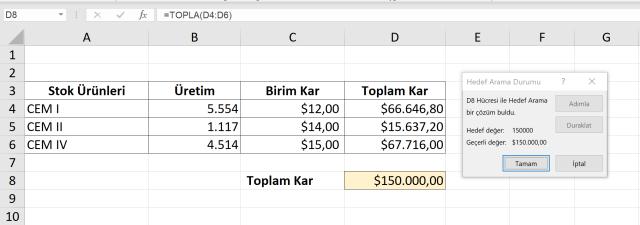 Excel Hedef Ara kullanımı