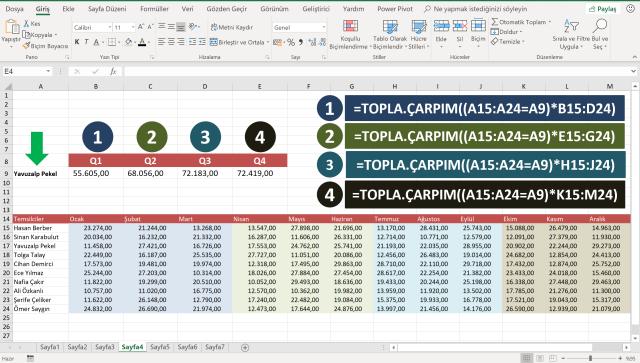 Excel'de Topla.Çarpım İşlevi kullanımı