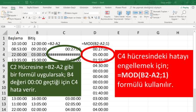 Excel'de saat hesaplaması yapmak