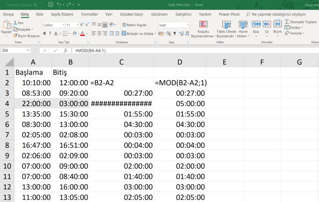Excel de Saat çıkarmak