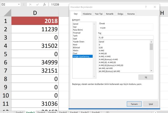 Excel Sıfır değerlerini gizlemek
